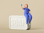 3d render, woman doctor cartoon character sitting on the big piece of soap, clip art isolated on neutral background. Hand hygiene rules reminder illustration