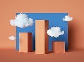 3d render, abstract geometric city, simple cartoon cityscape with red skyscrapers and white clouds over the blue sky, paper craft scene. Statistics chart concept