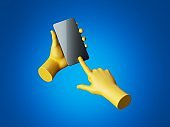 3d render, yellow mannequin hands hold black smartphone with glossy touchscreen. Electronic gadget blank mockup isolated on blue background. Virtual reality, wireless technology presentation