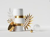 3d render. White cream jars with golden caps and decorative paper tropical palm leaves. Beauty product showcase. Stack of cosmetic bottles blank mockup, modern minimal clean style.