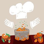 Vector cartoon cute concept of Professional Cooking for small restaurants and home cook. White Hat and gloves with vegetables, meat - ingredients for soup - cook vector concept.