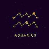 Aquarius zodiac horoscope sign, astrology simbol in golden shiny glittered style on black sky background.