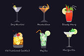 Set of vector alcohol bar drinks - mojito, manhattan cocktail, Bloody Mary, old fashioned and Margarita cocktails with Dry Martini, isolated on black background