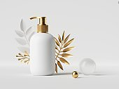 3d render, blank cosmetic bottle mockup with tropical palm leaf. White dispenser container with golden cap isolated on white background. Beauty product modern showcase