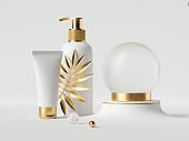 3d rendering, white cosmetic bottles with golden caps. Dispenser and cream tube. Empty glass ball. Palm leaf. Beauty products showcase premium design