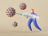 3d render. Woman doctor cartoon character fights Coronavirus infection. Vaccine against covid-19 virus inside big syringe. Clip art isolated on neutral background. Vaccination medical concept