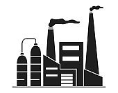 Silhouette factory building with smoking chimneys.Vector flat.