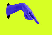 Hand in a pop art collage style in neon bold colors. Modern psychedelic creative element with human palm for posters, banners, wallpaper. Copy space for text. Magazine style template. Zine culture.