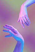 Two hand in a pop art collage style in pastel bold colors. Modern psychedelic creative element with human palm for posters, banners, wallpaper. Copy space for text. Magazine style. Zine culture.