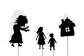 Shadow puppets of boy, girl, witch and gingerbread house, isolated.