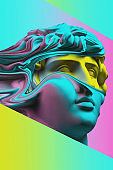 Plaster sculpture of young man face in a pop art style. Statue of Antinous head. Creative concept colorful neon image with ancient roman sculpture Antinous head. Cyberpunk, webpunk and surreal style.