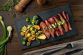 Medium rare meat hanger steak