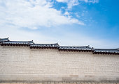 Asia Architecture details wall with roof Korean style