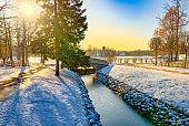 Bridge over the Fish Channel in Catherine Park, Tsarskoye Selo (Pushkin). Saint Petersburg. Russia.