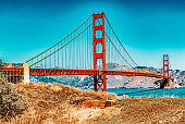 Panorama of the Gold Gate Bridge and the other side of the bay. San Francisco.