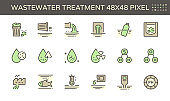 Wastewater and water treatment vector icon set design, 48x48 pixel perfect  and editable stroke.