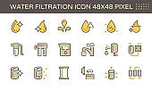 Water filtration and equipment icon set design, 48x48 pixel perfect and editable stroke.