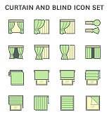 Curtain blind and interior decoration material vector icon set design.
