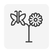 Flower and butterfly vector icon design.