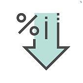 discount percent vector icon design, 48x48 pixel perfect and editable stroke.