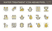 Water treatment plant and water filtration vector icon set design, 48x48 pixel perfect and editable stroke.