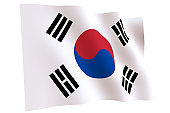 Flag of South Korea waving in the wind