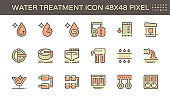 Water treatment plant and water filtration vector icon set, 48x48 pixel perfect and editable stroke.