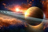 Planet Saturn Galaxy 3D Illustration