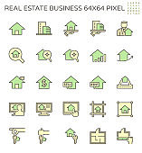 Real estate business vector icon set design, 64x64 perfect pixel and editable stroke.