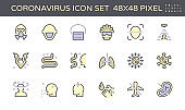 Coronavirus and illness vector icon set design,  48X48 pixel perfect and editable stroke.