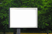 Billboard in the park, advertising space, template