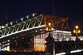 Divorced Troitsky Bridge. Open bridge in Saint Petersburg, Russia. Troitsky bridge at night, close-up