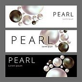 Shiny pearls frame on background. Realistic white and black pearls.