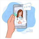 The concept of virtual medicine. Vector illustration. Doctor's consultation online.