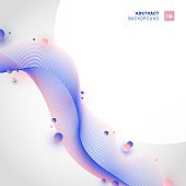 Abstract pink and blue wave line with circles elements on white background with space for your text.