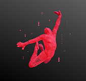 3D human body model. Gymnast jumping. Gymnastics activities for icon health and fitness community. Vector illustration.