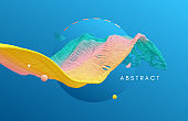 Abstract background with blue sphere and dynamic wave. Design for banner, flyer, poster, cover or brochure. 3D vector illustration.