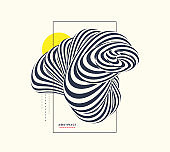 Cover design template. Abstract black and white striped figure. 3d geometric design. Optical art. Vector illustration with distortion effect.