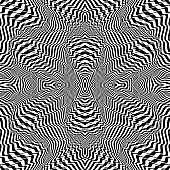 Black and white striped background. Seamless pattern with optical illusion. Simple graphic design. 3d vector illustration.