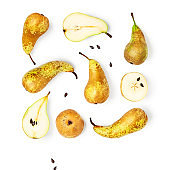 Pear fruits collection and creative pattern