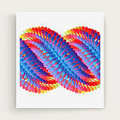 Array with dynamic particles. Vector art illustration. Composition with motion effect.