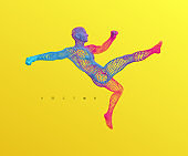 Football player. Sport symbol. 3d vector illustration.