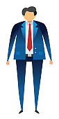 Businessman character standing with blue suit, vector illustration.