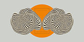 Cover design template with abstract striped figure. 3d geometric design. Optical art. Vector illustration with distortion effect.