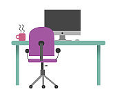 Computer desk illustration in flat color style. Table, computer, chair, coffee.