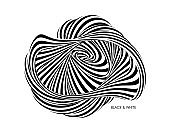 Abstract black and white striped figure. 3d geometric design. Optical art. Vector illustration with distortion effect.