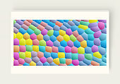 Fun background. Design template with color forms. Modern pattern. 3d vector illustration.