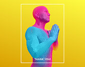 Thank you, gratitude hands gesture. Man greets traditional way with both hands. Prayer to god with faith and hope. Concept for religion, worship, love and spirituality. 3d vector illustration.