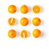 Orange citrus fruits collection and creative pattern