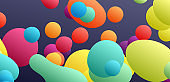 Floating liquid blobs. Abstract colorful banner with fluid shapes. Futuristic composition with bubbles. 3D vector illustration for advertising, marketing or presentation.